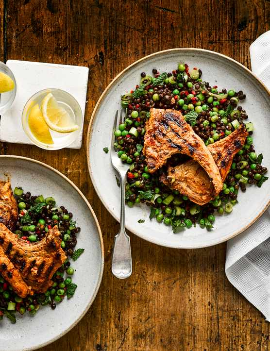 Cumin Lamb Recipe with Pea and Lentil Salad