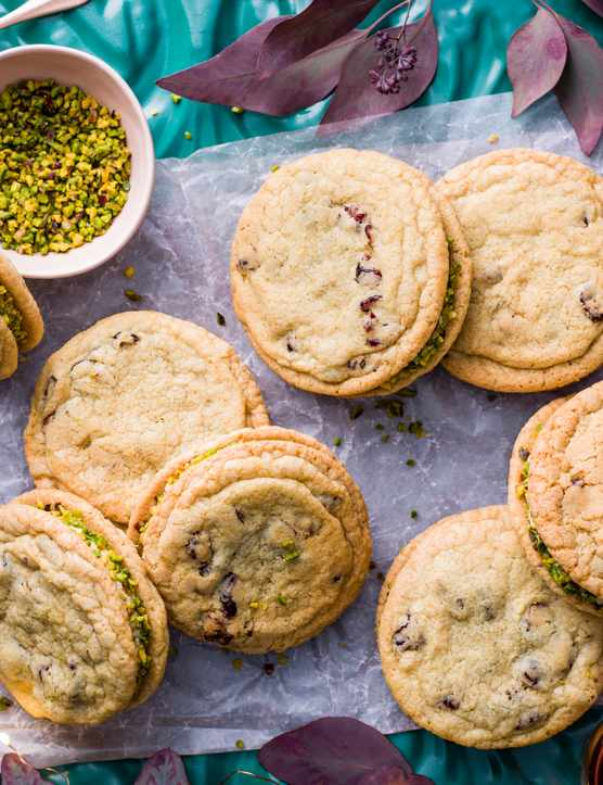 Pistachio Sandwich Cookie Recipe with Cranberries