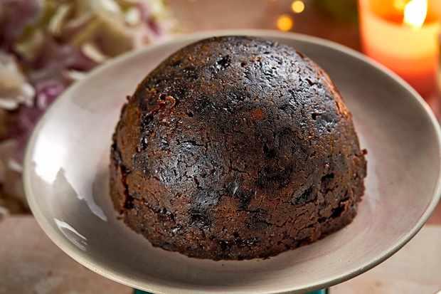 A large Christmas pudding