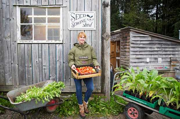 A woman stood with a box of vegetables next to a wooden shed