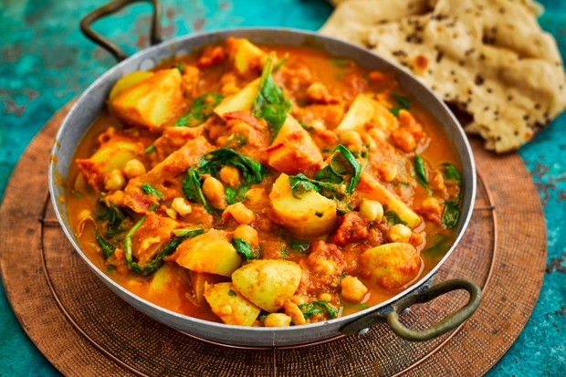 Chickpea Potato Curry Recipe with Spinach
