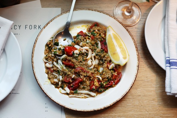 The squid freekeh risotto