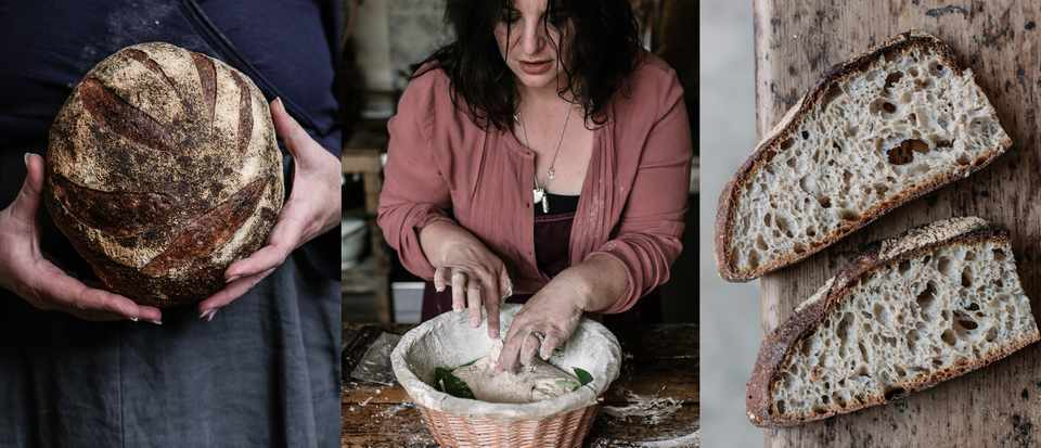 A loaf of bread, a woman kneading dough and slices of bread
