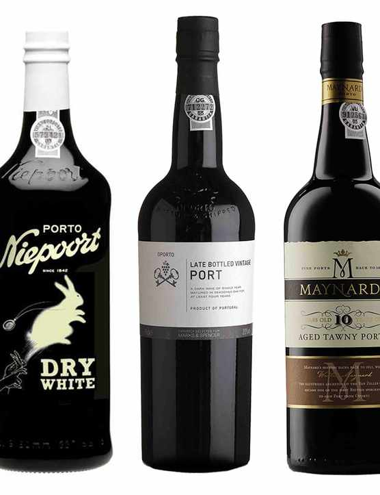 Five bottles of the best port wine brands, one with a rabbit on the front