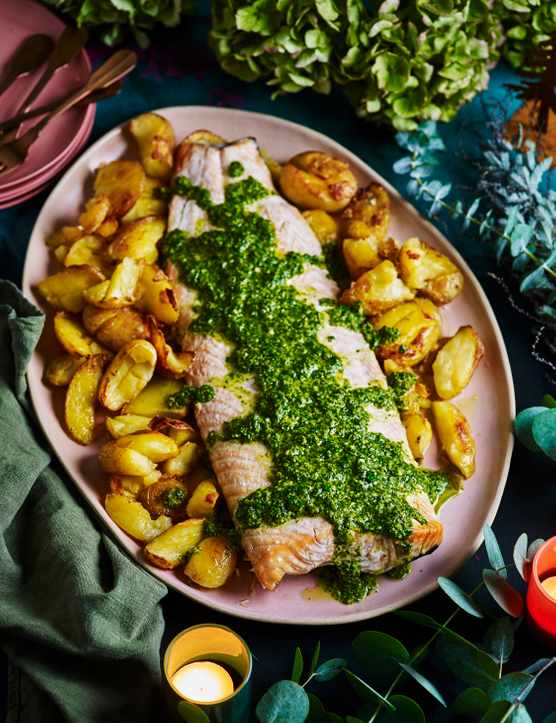 Salmon with Zhoug Recipe and Crispy Potatoes