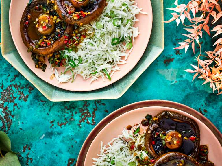 Soy-and-butter-braised mushrooms