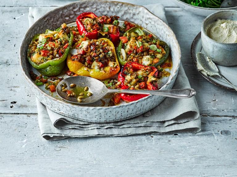 Halloumi-stuffed peppers