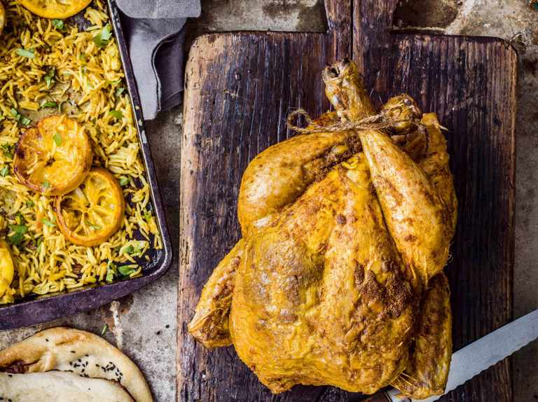 Roast chicken with spiced masala butter