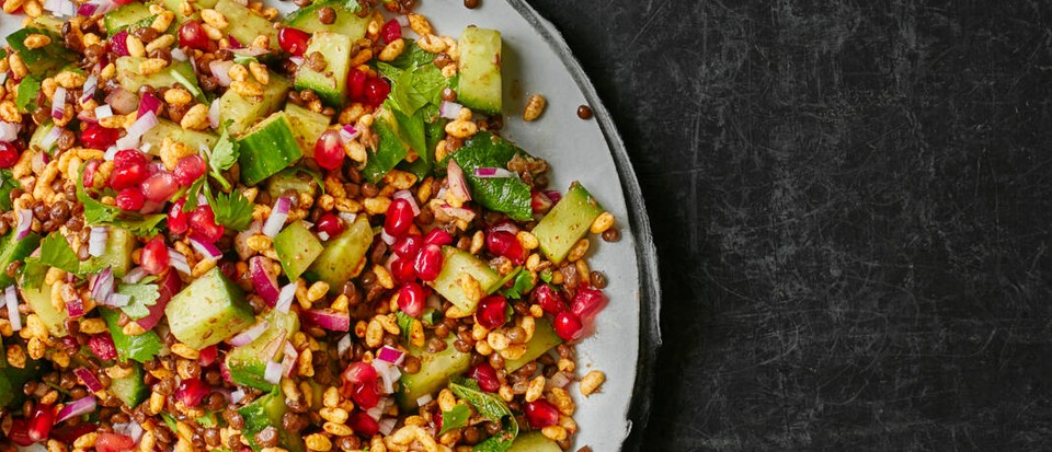 Spiced lentil, puffed rice and cucumber salad