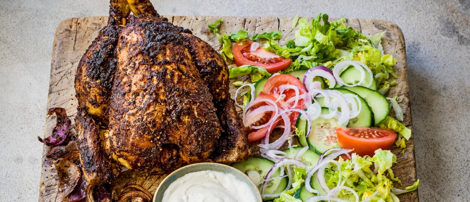 Slow-cooked shawarma chicken