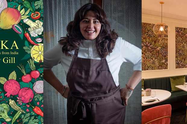Une couverture de livre, une photo d'une femme portant un tablier et l'intérieur d'un restaurant