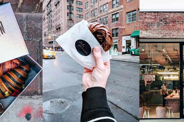 Trois images de produits de boulangerie et d'une boulangerie à New York