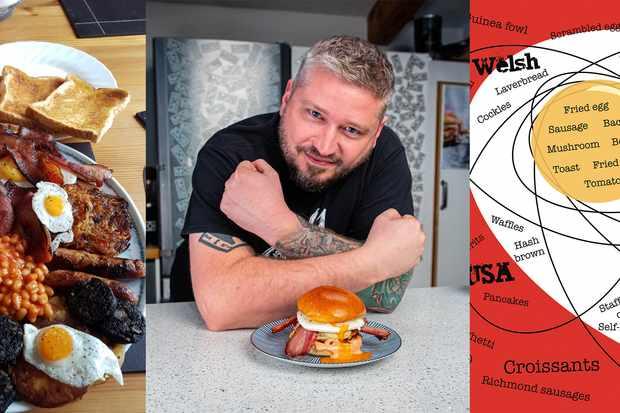 Trois photos, l'une d'une friture, celle d'un homme croisant les bras tatoués et celle d'une illustration d'œuf au plat