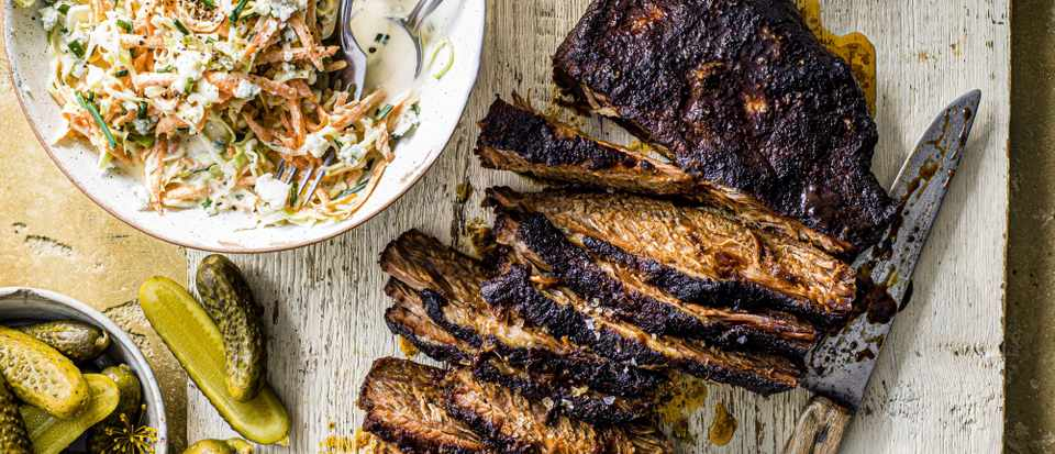 Oven-BBQ brisket with blue cheese slaw