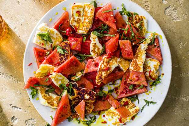 Salade halloumi et pastèque