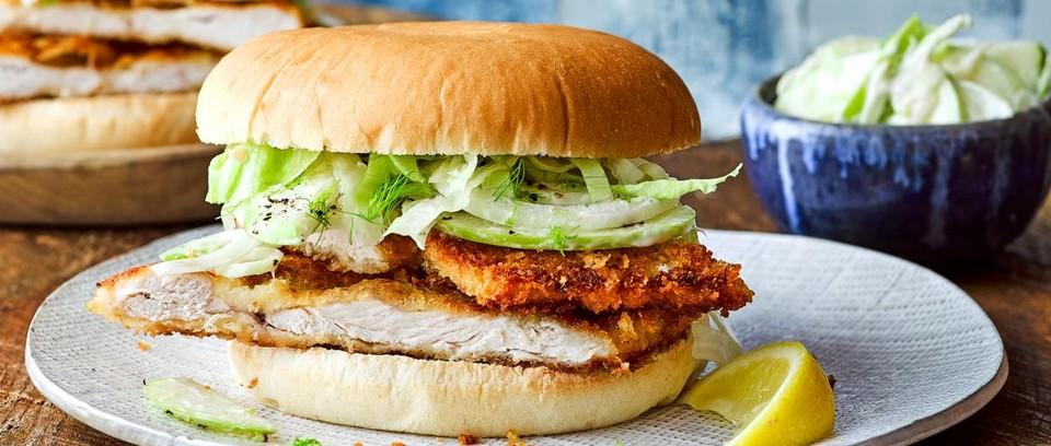 Chicken Schnitzel Burgers Recipe Olivemagazine