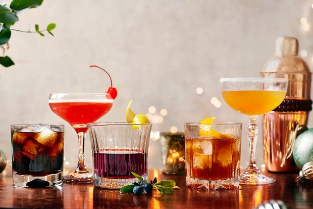 A selection of Christmas cocktails lined up in a row