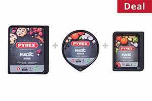 Pyrex Magic Rectangular Roaster + Magic Pizza Pan + Magic Baking Tray, Bundle of 3