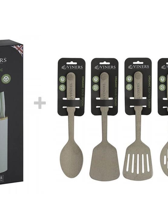 Viners Organic 6pc Knife Block Set + Set of 5 Utensils, Bundle of 11pcs