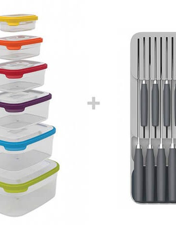 Joseph Joseph Nest™ Storage Container Set + DrawerStore™ Cutlery & Knife Organiser Set, Bundle of 2 Sets
