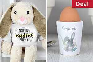Get a personalised Easter bunny and accessory for just £22!
