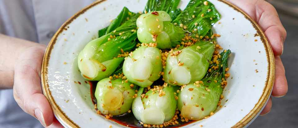 Pak choi with garlic and soy sauce