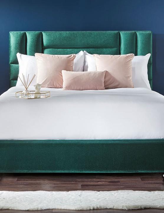 Zara - Emerald Green Modern Classic Velvet Textured Headboard Bed