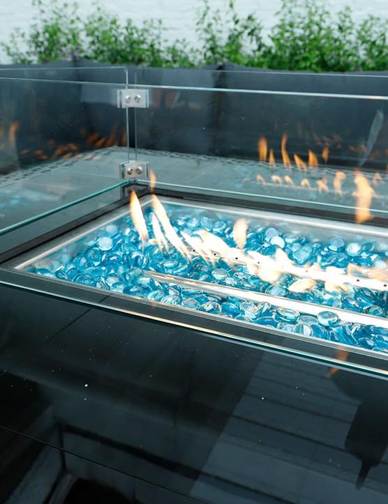 Luxor Outdoor firepit garden fire pit table wicker rattan