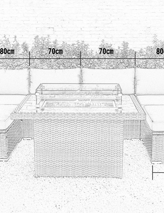 Dimension of Luxor Rattan modular sofa set wicker garden furniture