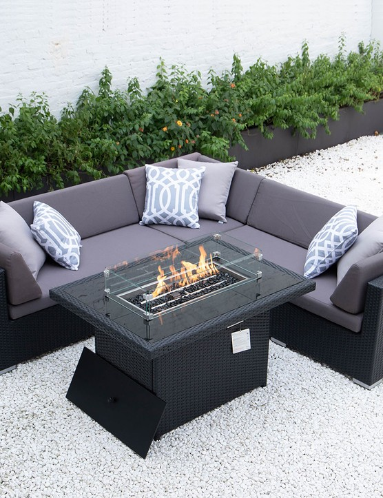 Kairo Outdoor firepit garden fire pit table wicker rattan