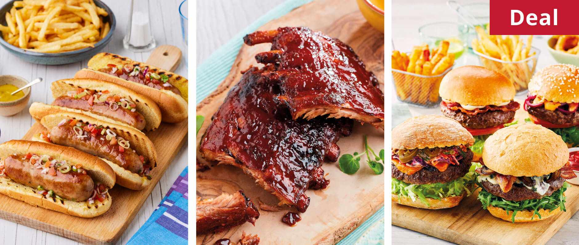 Hot dogs, BBQ ribs and burgers