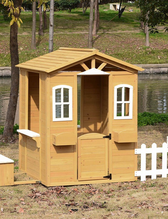 Outsunny Wooden Outdoor Playhouse