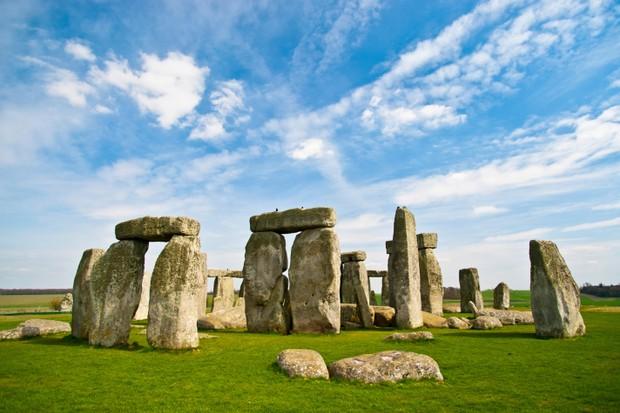 Blue skies over Stonehenge historic site