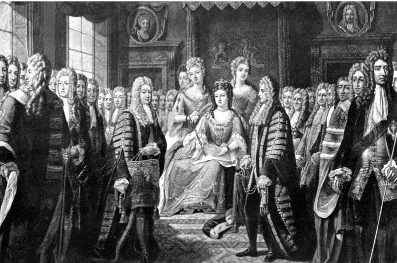 Articles of Union presented by Commissioners to Queen Anne, 1706 (c1905). Commissioners appointed by English, Scottish Parliaments. The Acts of Union was signed in 1706 and 1707, creating the Kingdom of Great Britain. Print published in Parliament Past and Present by Arnold Wright and Philip Smith, (London, 1905). (Photo by The Print Collector/Print Collector/Getty Images)