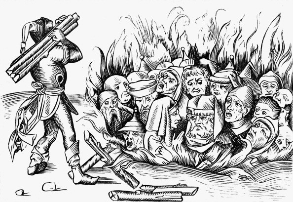 The Jews of Cologne burnt alive, reproduced from a woodcut in a 1493 folio of the Liber Chronicarum Mundi © Getty Images