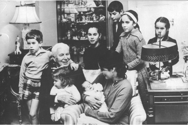 Chaplin aged 70 in 1959, with his wife Oona and seven of their children. They had another before he died in 1977 © Getty Images