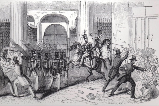 Police break up a Chartist riot in 1842. From the Illustrated London News © Getty Images