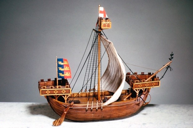 UNITED KINGDOM - AUGUST 07:  Model (scale approximately 1:48) based on the Seal of Dover in use in 1284. The Seals of the Cinque Ports are almost the only contemporary information available. The ships of the 11th and 12th centuries differed little from Viking longships. As more reliance came to be placed on sail power the vessels were built with increased beam and depth to carry the larger sail. During the 13th century, fore and aftercastles were added to these ships for fighting purposes. This ship was about 75 ft in length and 25 ft wide. The Cinque Ports are first mentioned in an Enlish Royal Charter of 1155. They were five ports (Sandwich, Dover, Hythe, Romney and Hastings) which, in return for certain privileges, guaranteed to provide the Crown with ships in times of national strife or crisis.  (Photo by SSPL/Getty Images)
