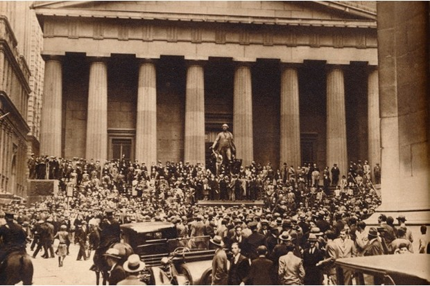 Panic-stricken, and suddenly broke, crowds gather on Wall Street after the crash on 29 October 1929 © Getty Images