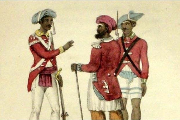 An engraving of Indian troops, the 'sepoys', in the East India Company's service, c1820s. (By Frederic Shoberl, from his work The World in Miniature: Hindoostan)