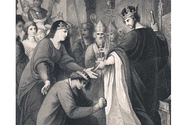 John submits to his brother King Richard I as Eleanor of Aquitane looks on © Alamy