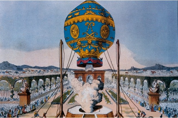 Illustration of the ascent of the Montgolfier brothers' balloon in 1783 © Getty Images