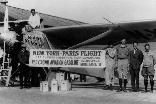 Charles Lindbergh (third from right) promotes his historic flight with another voyage in the Spirit of St Louis from New York to San Diego, 1927 © Getty Images