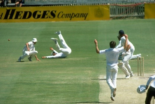 Ian Chappell of Australia drops the ball from Derek Pringle of England during First Ashes Test match in Perth, Australia, 1982. The match ended in a draw © Getty Images