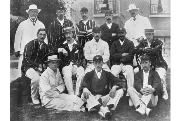 The England team for the second Test of the 1899 Ashes series against Australia. The Australians won the match by 10 wickets. All the other four matches of the series were drawn. A print from The Book of Cricket, a Gallery of Famous Players, edited by CB Fry, George Newnes Ltd, London, c1899 © Getty Images