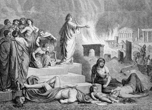 Nero während des Brandes von Rom, Historischer Stich, 1888