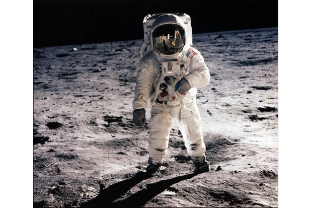 Astronaut Edwin E Aldrin walking on the surface of the moon © Getty Images