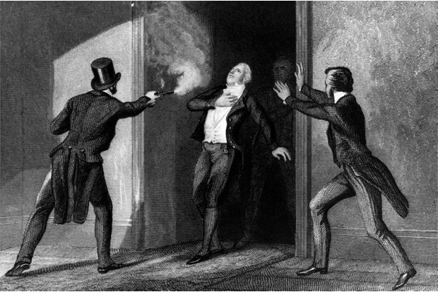 The assassination of Prime Minister Spencer Perceval in the lobby of the House of Commons, 1812 © Getty Images