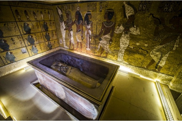 The burial chamber of Tutankhamun, where his sarcophagus still sits, in the Valley of the Kings, near Luxor © Getty Images