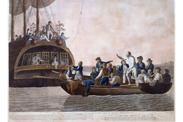 The mutineers set Captain Bligh adrift in his nightclothes © Wikimedia Commons